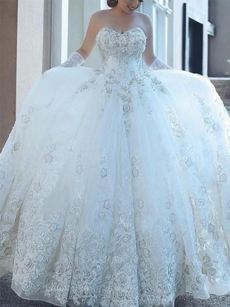 Robe de bal Col en coeur Appliqués Tulle Sans Manches Traîne longue Robes de Mariée