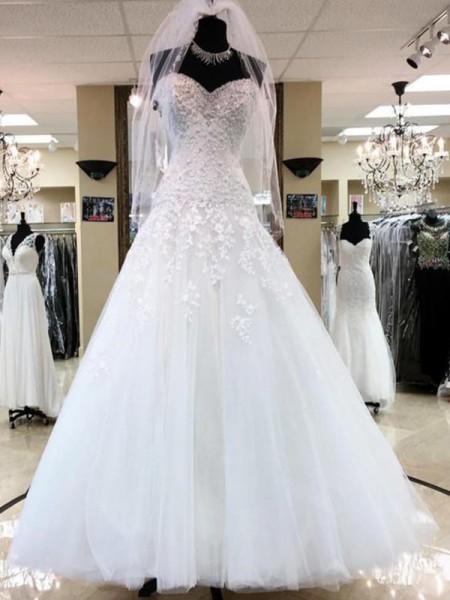 Robe de bal Sans Manches Col en coeur Appliqués Tulle Longueur ras du sol Robes de Mariée