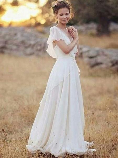 Trapèze/Princesse Mousseline Col en V Froncée Manches courtes Longueur ras du sol Robes de Mariée