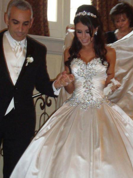 Robe de bal Taffetas Col en coeur Volants Sans Manches Traîne longue Robes de Mariée