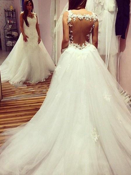 Robe de bal Sans Manches Tulle Col en coeur Appliqués Traîne mi-longue Robes de Mariée