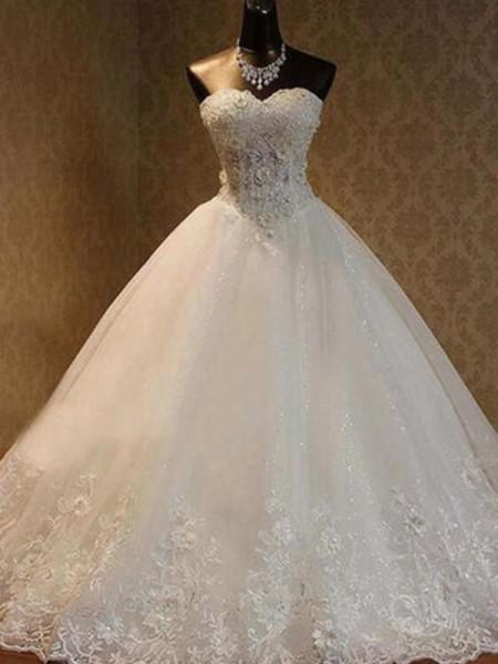 Robe de bal Tulle Perles Col en coeur Sans Manches Longueur ras du sol Robes de Mariée