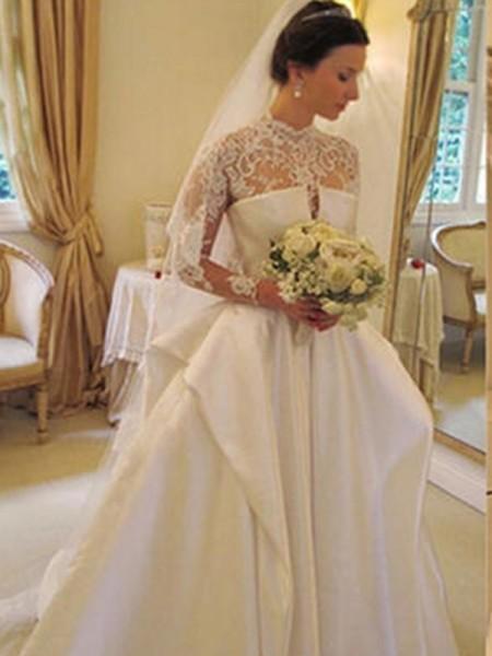 Robe de bal Satiné Dentelle Col montant Manches longues Traîne mi-longue Robes de Mariée