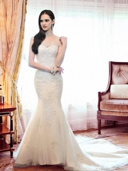 Sirène/Trompette Col plongeant Organza Perles Sans Manches Traîne moyenne Robes de Mariée