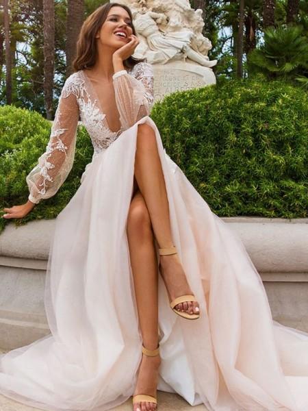 Trapèze/Princesse Manches longues Appliqués Tulle Col en V Traîne courte Robes de Mariée