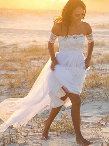 Trapèze/Princesse Mousseline Sans Manches Épaules dégagées Dentelle Longueur ras du sol Robes de Mariée