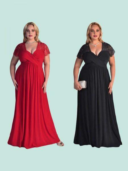 Trapèze/Princesse Manches courtes Col en V Longueur ras du sol Dentelle Mousseline Grande taille Robes