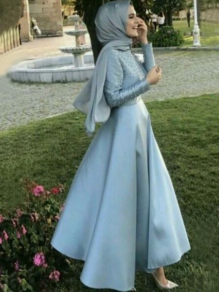 Trapèze/Princesse Manches longues Col plongeant Longueur ras du sol Perles Satiné Muslim Robes