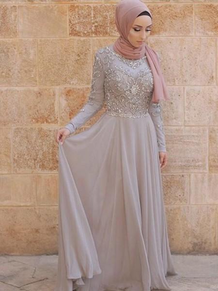 Trapèze/Princesse Manches longues Col plongeant Traîne courte Cristal Tulle Muslim Robes