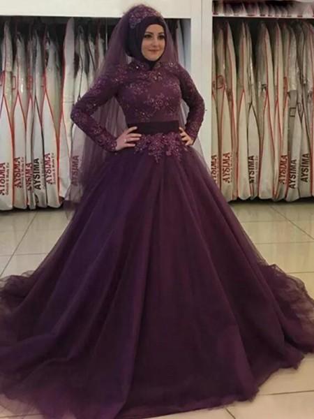 Robe de bal Manches longues Col montant Traîne courte Appliqués Tulle Muslim Robes