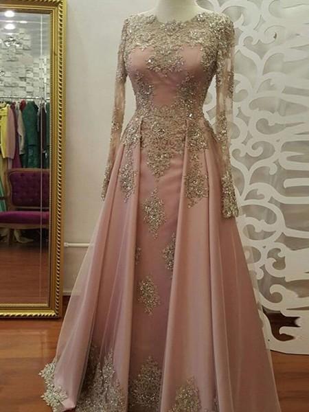 Trapèze/Princesse Manches longues Col plongeant Longueur ras du sol Appliqués Tulle Muslim Robes