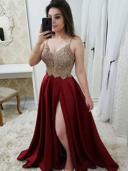 Trapèze/Princesse Sans Manches Avec bretelles Traîne courte Perles Satiné Robes