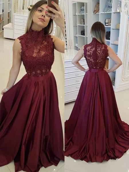 Trapèze/Princesse Sans Manches Col montant Traîne courte Appliqués Satiné Robes
