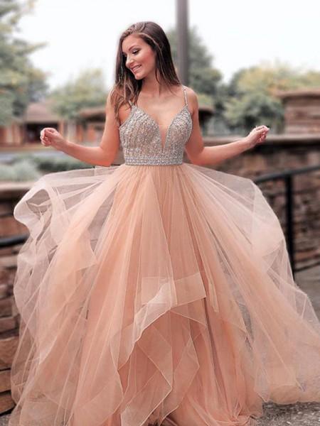 Trapèze/Princesse Sans Manches Avec bretelles Traîne courte Perles Tulle Robes