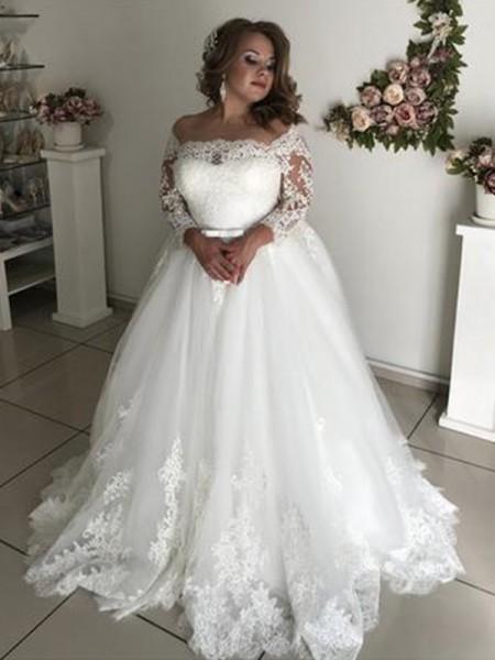 Trapèze/Princesse Épaules dégagées Manches longues Traîne courte Dentelle Tulle Robes de Mariée