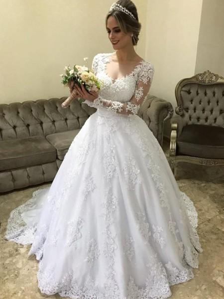 Robe de bal Col en V Manches longues Traîne courte Appliqués Satiné Robes de Mariée