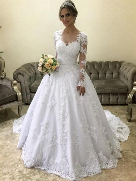 Robe de bal Col en V Manches longues Traîne moyenne Appliqués Satiné Robes de Mariée