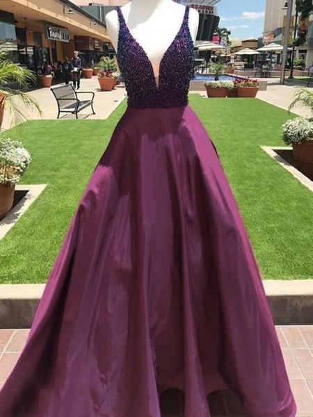 Trapèze/Princesse Col en V Sans Manches Longueur ras du sol Perles Satiné Robes