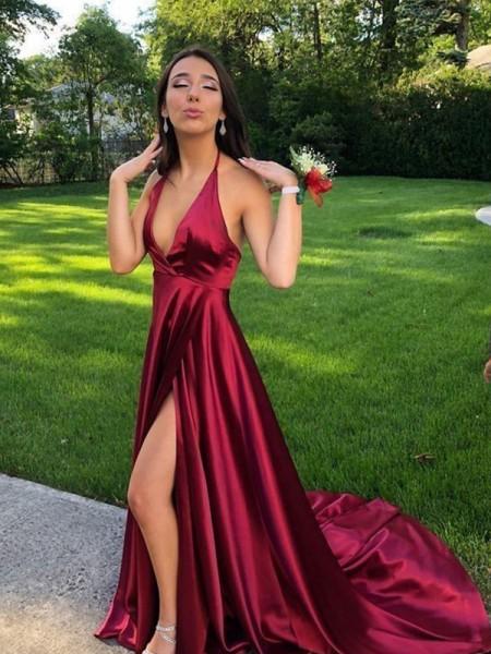 Trapèze/Princesse Sans Manches Licou Traîne courte Volants Satiné soyeux Robes