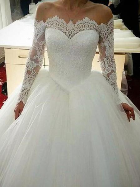 Robe de bal Tulle Appliqués Épaules dégagées Manches longues Traîne courte Robes de Mariée