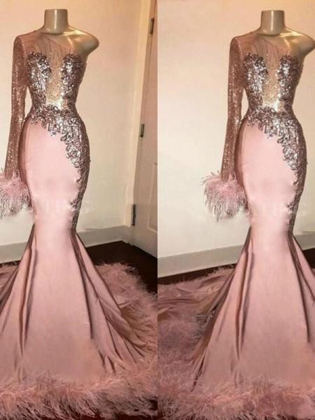 Sirène/Trompette Spandex Plumes/Fourrure Col asymétrique Longue Sleeves Traîne courte Dresses