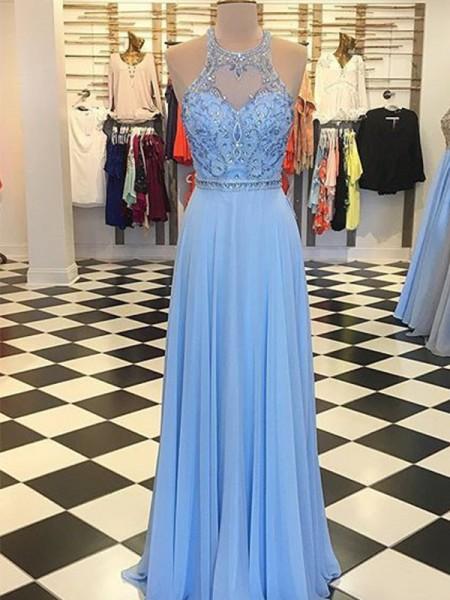Trapèze/Princess Mousseline Perles Licou Sans Manches Longueur ras du sol Dresses