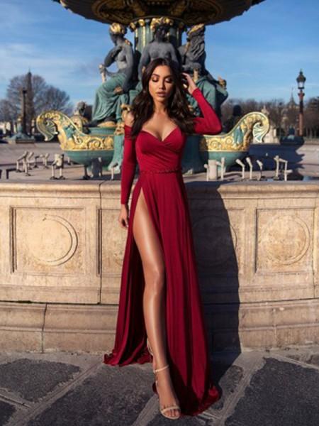 Trapèze/Princess Froncée Épaules dégagées Longue Sleeves Traîne courte Satiné stretch Dresses