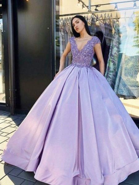 Robe de bal Satiné Perles Col en V Manches courtes Longueur ras du sol Dresses