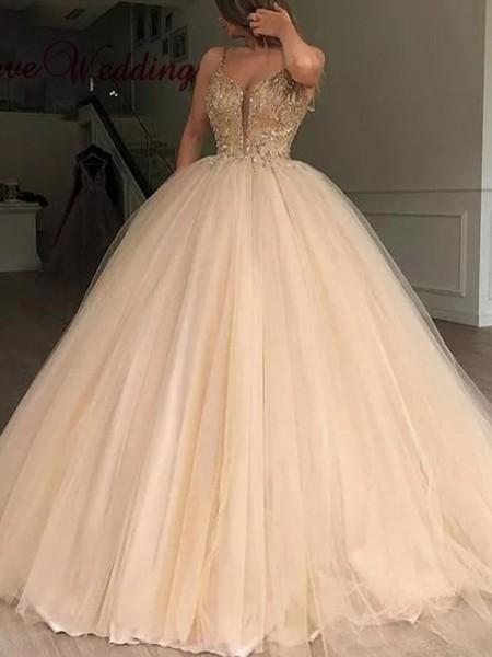 Robe de bal Col en V Tulle Perles Longueur ras du sol Dresses