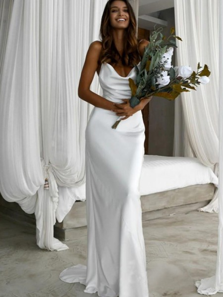 Sheath/Column  Ruched Spaghetti Straps Sweep/Brush Train Sleeveless Wedding Dresses