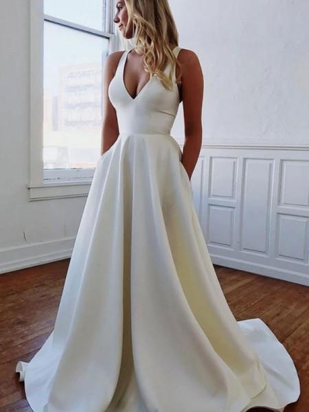 A-ligne / Princesse Col en V Stretch Crepe Volants Sans Manches Traîne Brosse Robes de mariée