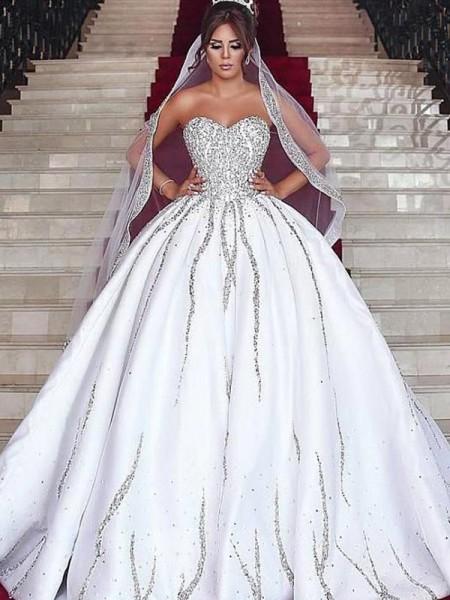 Robe de bal Chérie Satiné Perles Sans Manches Traîne Brosse Robes de mariée