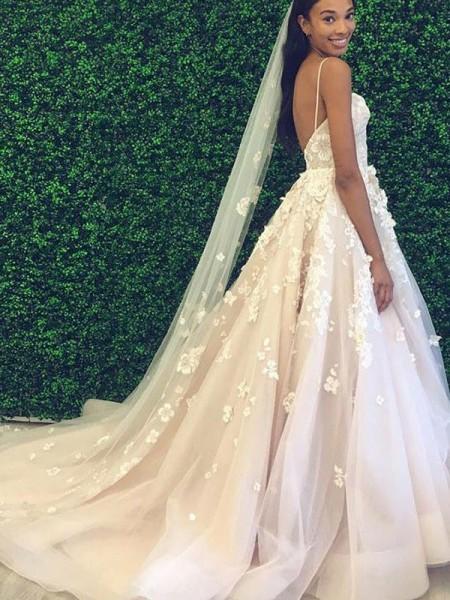 A-Line/Princess Tulle Applique Spaghetti Straps Sleeveless Court Train Wedding Dresses