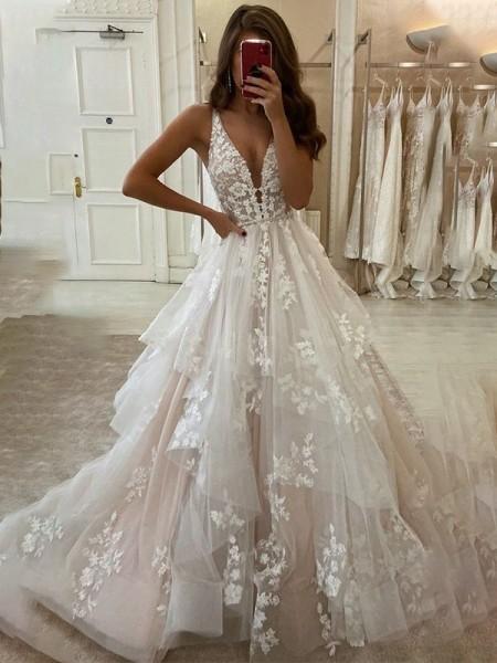 Trapèze/Princess Tulle Col en V Sans Manches Appliqués Traîne courte Robes de mariée