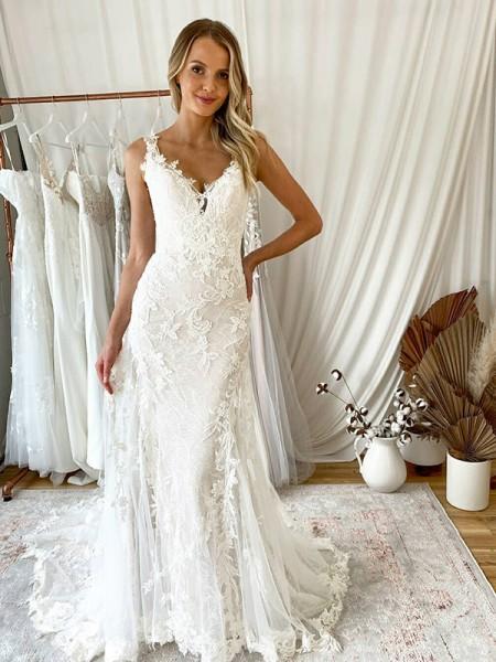 Sirène/Trompette Tulle Appliqués Col en V Sans Manches Traîne courte Robes de mariée