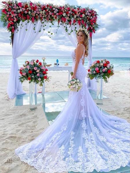 Sirène/Trompette Tulle Appliqués Avec bretelles Traîne moyenne Sans Manches Robes de mariée