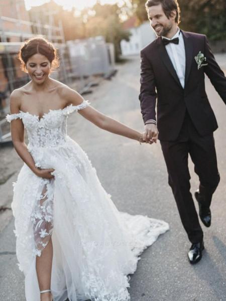 Trapèze/Princess Tulle Appliqués Sans Manches Épaules dégagées Traîne courte Robes de mariée