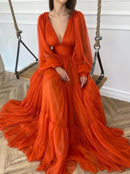Trapèze/Princess Traîne courte Col en V Longue Sleeves Mousseline Volants Dresses