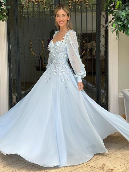 Trapèze/Princess Col en coeur Mousseline Longue Sleeves Appliqués Longueur ras du sol Dresses