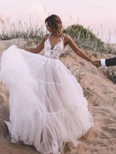 Trapèze/Principessa Col en V Sans Manches Tulle Appliqués Longueur ras du sol Robes de mariée