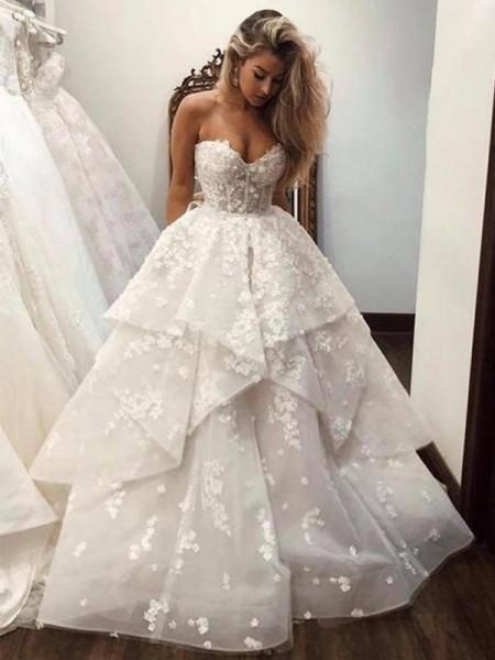 Robe de bal Col en coeur Organza Appliqués Sans Manches Traîne moyenne Robes de mariée