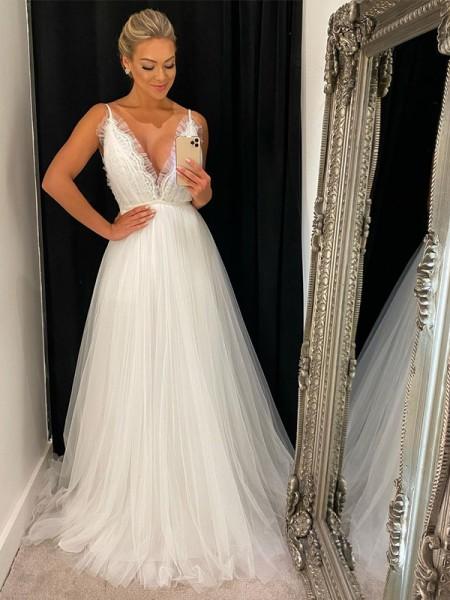 Trapèze/Principessa Sans Manches Tulle Col en V Volants Traîne courte Robes de mariée