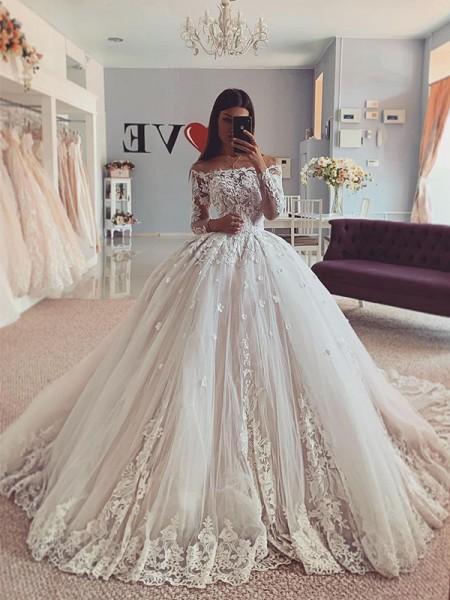 Robe de bal Tulle Épaules dégagées Appliqués Longue Manches Traîne moyenne Robes de mariée