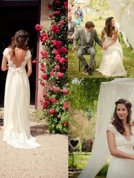 Trapèze/Princesse Col en V Traîne courte Sans Manches Perles Tulle Robes de Mariée