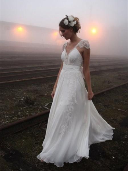 Trapèze/Princesse Col en V Longueur ras du sol Sans Manches Dentelle Mousseline Robes de Mariée