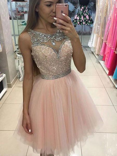 Trapèze/Princesse Sans Manches Col plongeant Perles Courte/Mini Tulle Robes