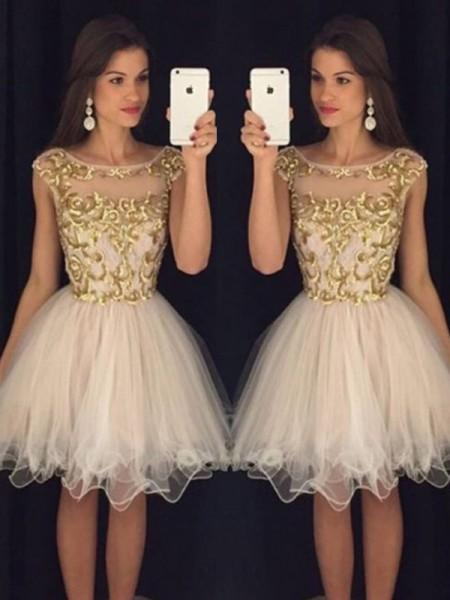 Trapèze/Princesse Sans Manches Col plongeant Paillette Tulle Courte/Mini Robes