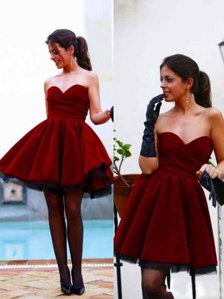Trapèze/Princesse Sans Manches Col en coeur Satin Courte/Mini Robes