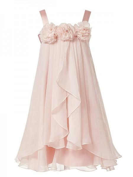 Trapèze/Princesse Sans Manches Avec bretelles Fleurs faites à la main Mousseline Longueur ras du sol Robe de Demoiselle d'Honneur Fille
