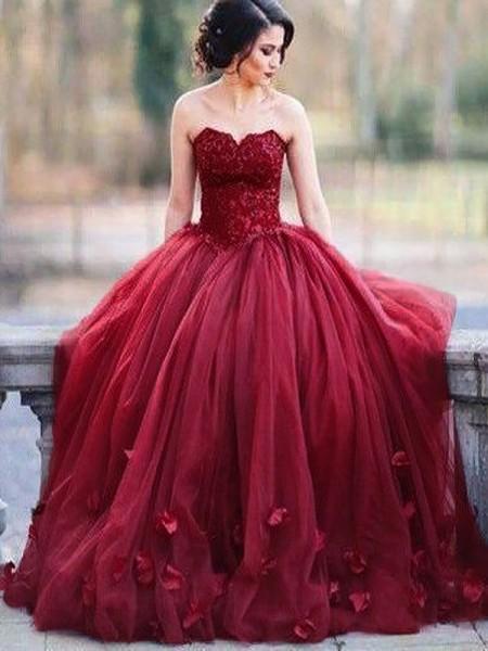 Robe de bal Sans Manches Col en coeur Appliqués Longueur ras du sol Tulle Robes